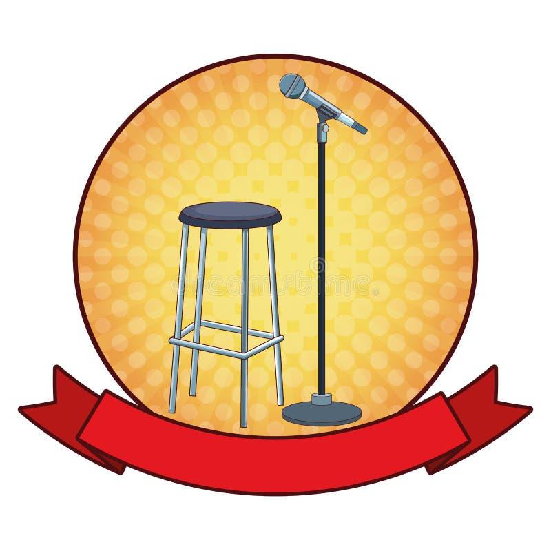 Icona rotonda della sedia e del microfono illustrazione vettoriale
