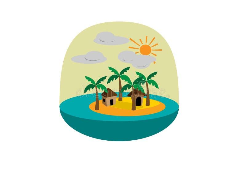 Icona rotonda di un'isola a distanza con le palme e le baracche immagini stock