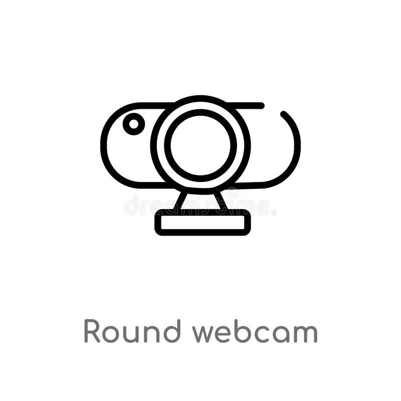 icona rotonda di vettore del webcam del profilo linea semplice nera isolata illustrazione dell'elemento dal concetto del computer illustrazione vettoriale