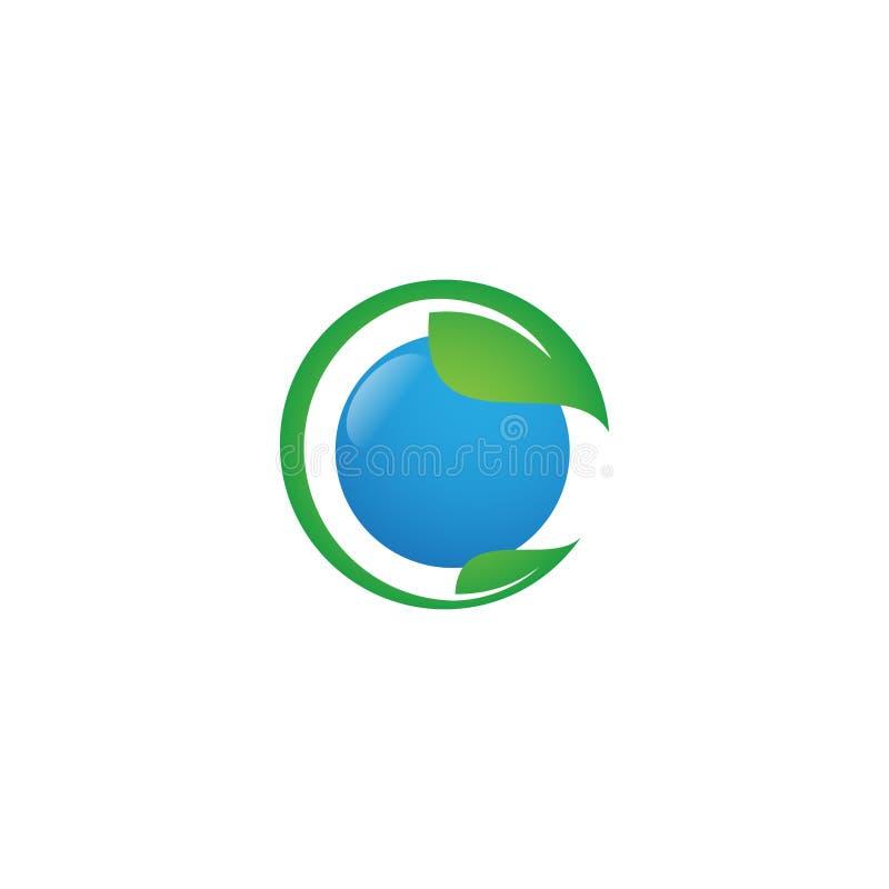 Icona rotonda di vettore dell'elemento della natura di ecologia della foglia con verde ed il blu di colore royalty illustrazione gratis