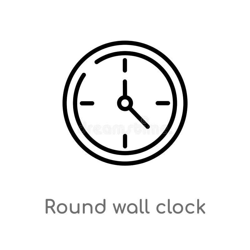 icona rotonda di vettore dell'orologio di parete del profilo linea semplice nera isolata illustrazione dell'elemento dal concetto illustrazione di stock