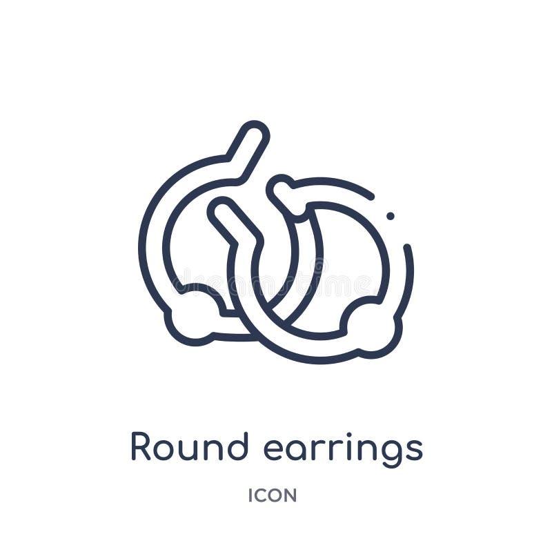 Icona rotonda lineare degli orecchini dalla raccolta medica del profilo Linea sottile icona rotonda degli orecchini isolata su fo illustrazione vettoriale
