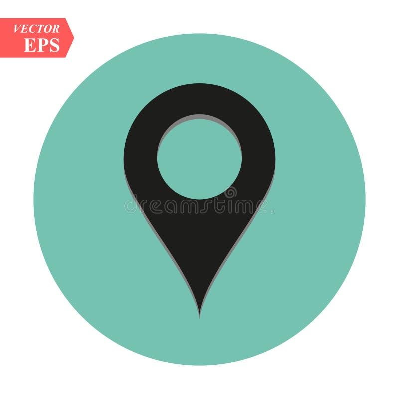 Icona rotonda nera di vettore di Pin di posizione di Geo illustrazione di stock