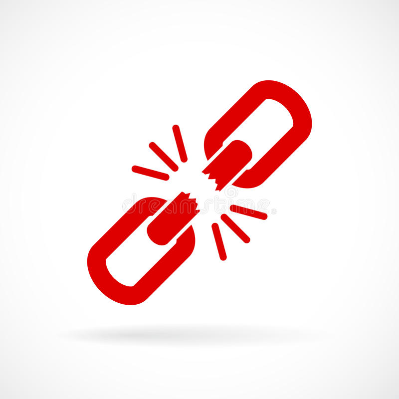 Icona rotta di vettore del collegamento a catena illustrazione vettoriale