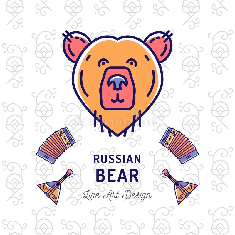 Icona russa dell'orso Viaggiando nell'insegna ultra-d'avanguardia della Russia, la linea sottile icone di arte sopporta, balalaik illustrazione di stock