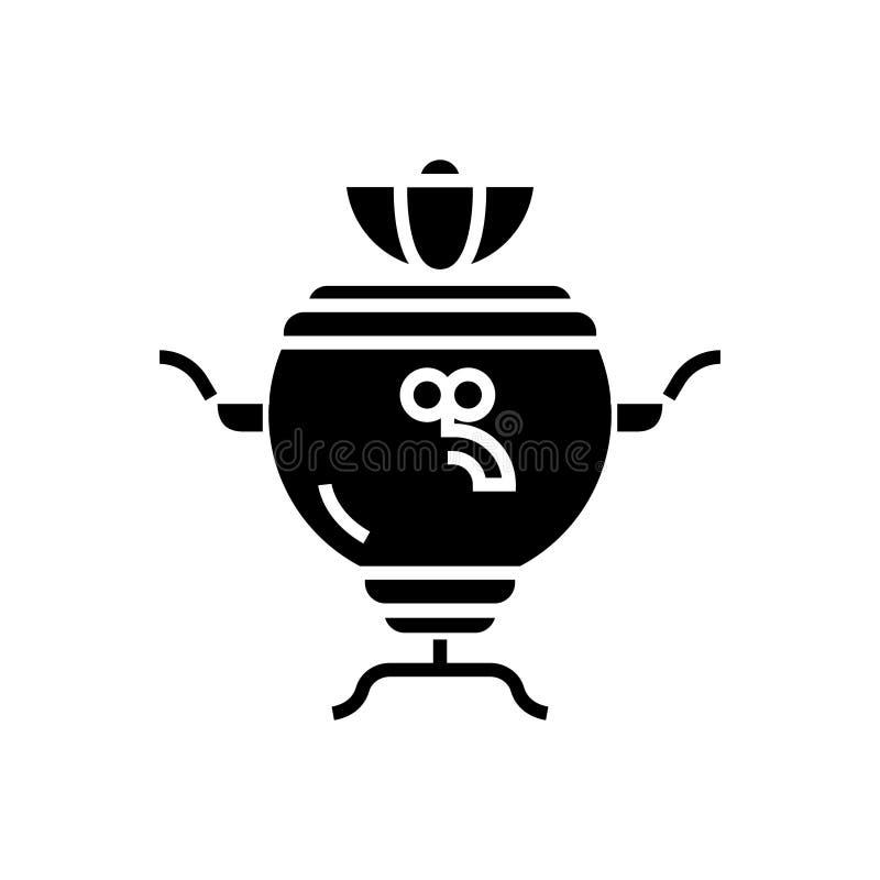 Icona russa della samovar, illustrazione di vettore, segno nero su fondo isolato illustrazione vettoriale