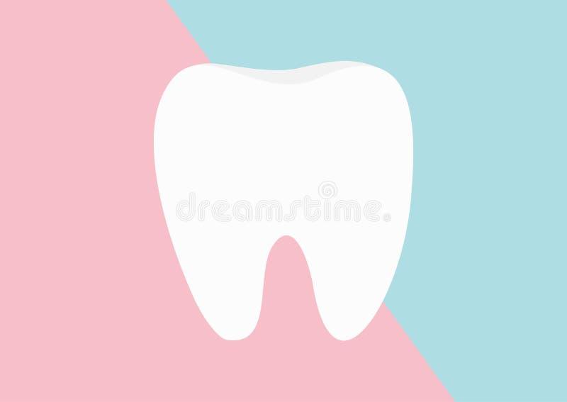 Icona sana del dente Progettazione piana Igiene dentale orale Cura dei denti dei bambini Effetto brillante Sanità Pape blu rosa d royalty illustrazione gratis