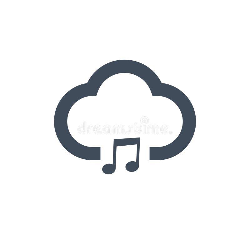 icona sana della nuvola della nota di musica illustrazione di vettore isolata su fondo pulito royalty illustrazione gratis