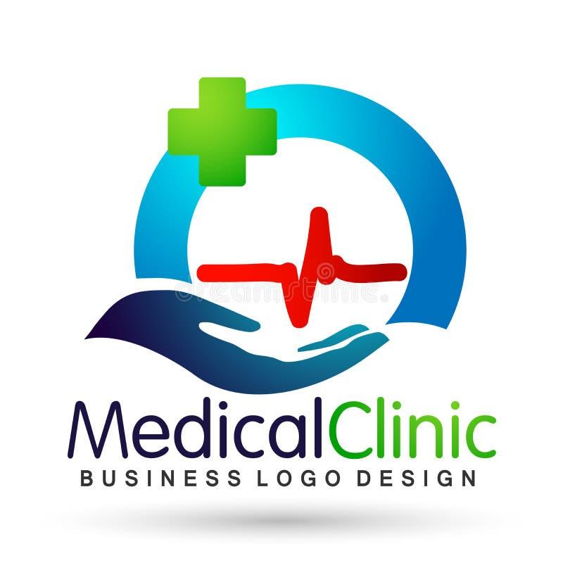 Icona sana di progettazione di logo di cura di vita di salute del mondo del globo del battito cardiaco della famiglia di cura del illustrazione vettoriale