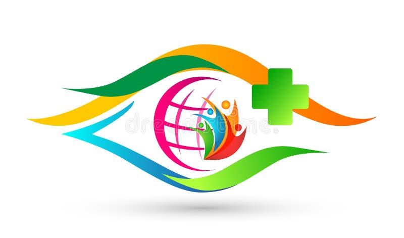 Icona sana di progettazione di logo di cura di vita di sanità di cura dell'occhio del mondo del globo della gente trasversale med illustrazione di stock