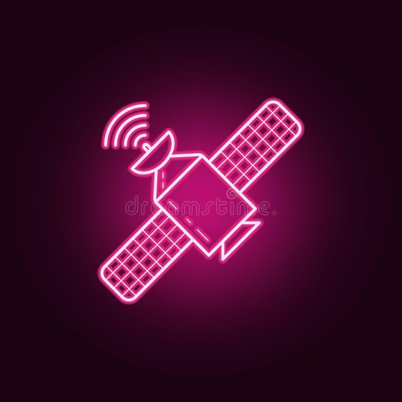 Icona satellite Elementi dei media nelle icone al neon di stile E illustrazione vettoriale