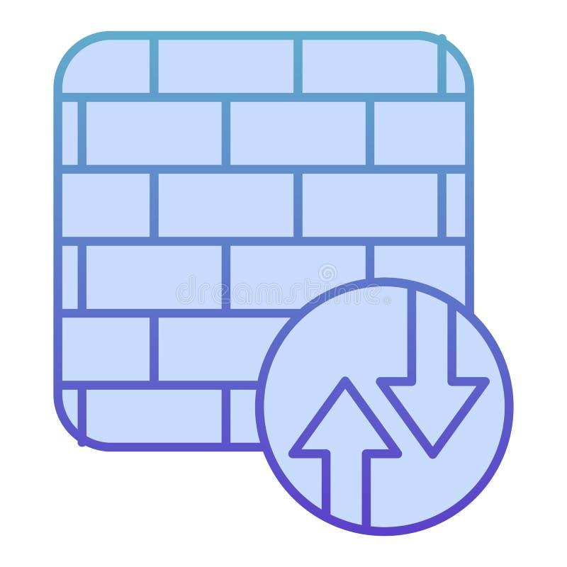 Icona a schermo piatto firewall Icone blu protezione rete in stile piatto alla moda progettazione di gradiente di sicurezza Inter illustrazione di stock