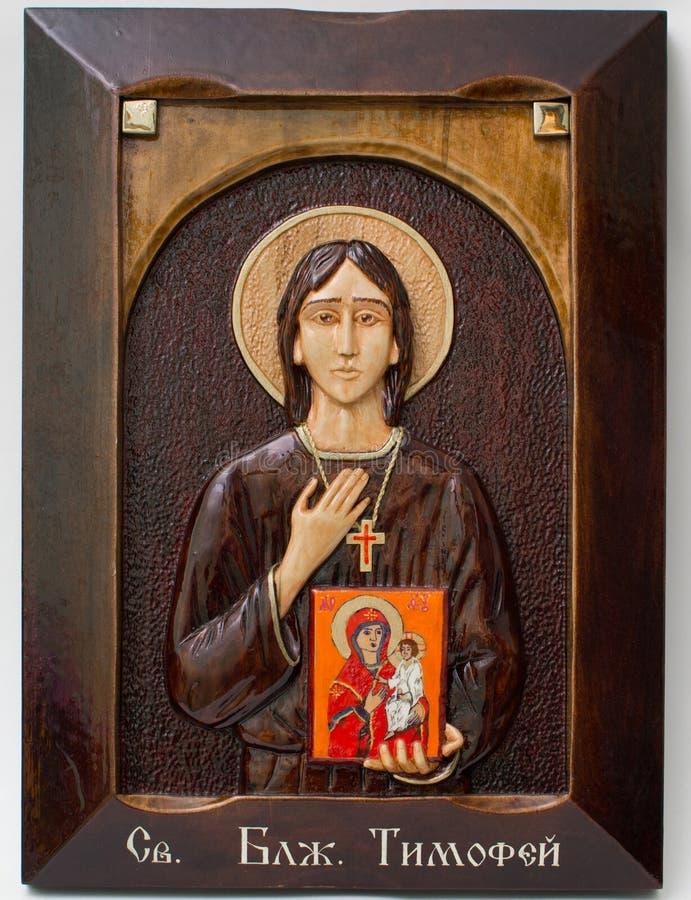 Icona scolpita da fatto a mano di legno Coda di todo santa immagine stock libera da diritti