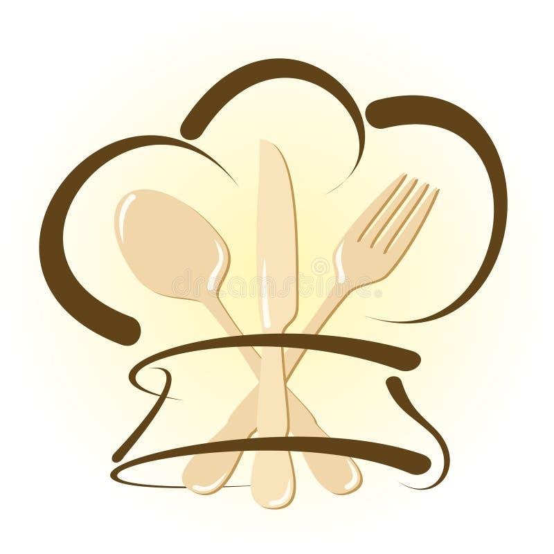 Icona semplice del ristorante con il cappello e la coltelleria del cuoco unico illustrazione vettoriale