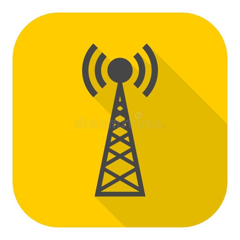 Icona semplice del trasmettitore con ombra lunga illustrazione di stock