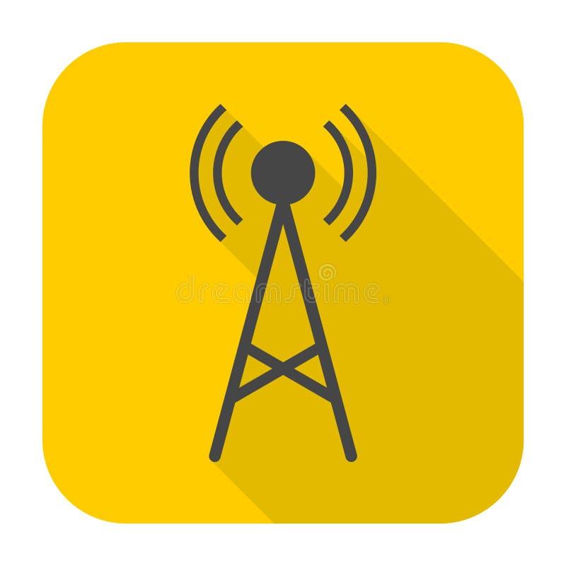 Icona semplice del trasmettitore con ombra lunga illustrazione vettoriale