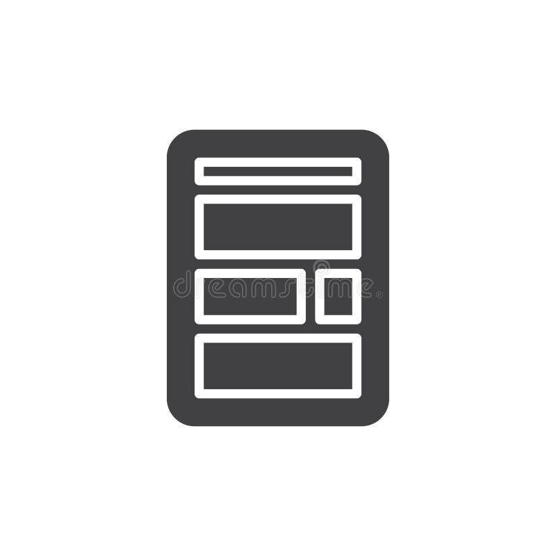 Icona semplice della disposizione del sito Web illustrazione vettoriale