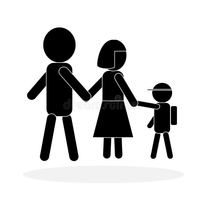 Icona semplice della famiglia in bianco e nero; simbolo del bambino che va a scuola con i genitori Illustrazione di vettore royalty illustrazione gratis