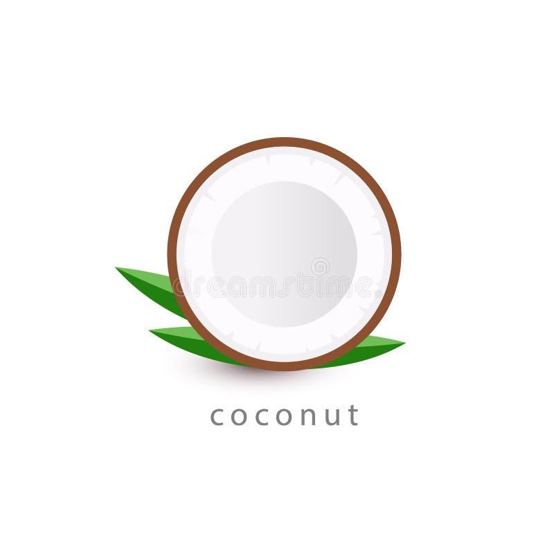 Icona semplice della noce di cocco Modello di logo del vegano Illustrazione di vettore di stile di minimalismo su fondo bianco illustrazione vettoriale