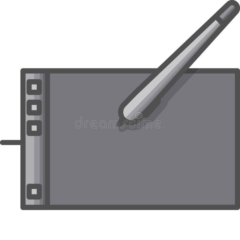 Icona semplice di hobby ed artistica di vettoredi FlatTavola del grafico per pittura digitale Icona piana di stile pixel 48x48 illustrazione di stock