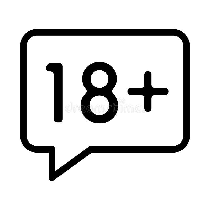 Icona semplice di vettore dell'adulto soltanto Illustrazione in bianco e nero di erotico Icona lineare del profilo illustrazione di stock