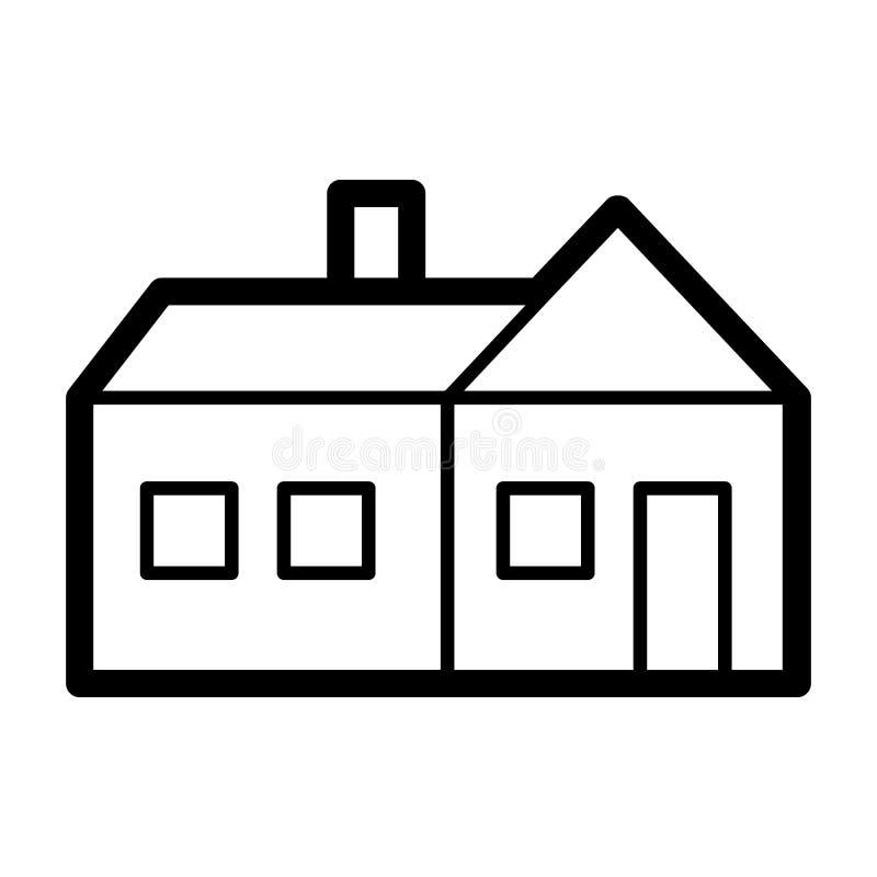 Icona semplice di vettore della Camera Illustrazione in bianco e nero del bene immobile Icona lineare degli appartamenti del prof illustrazione di stock