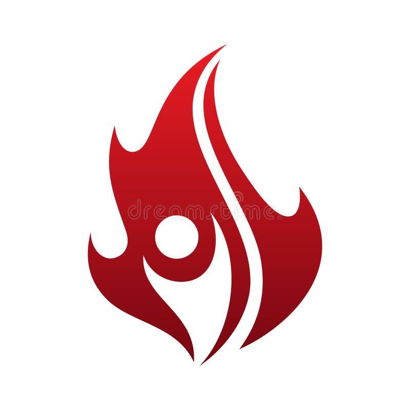 Icona semplice di vettore di vita della fiamma con la gente astratta sui precedenti bianchi illustrazione vettoriale