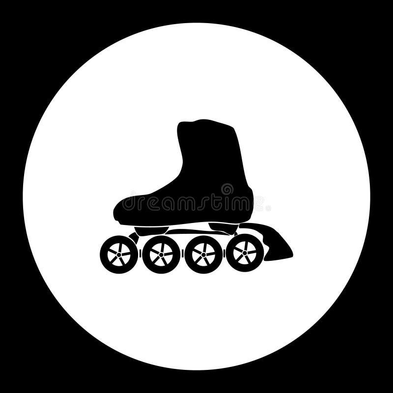 Icona semplice eps10 del nero di sport dei pattini di rullo illustrazione di stock