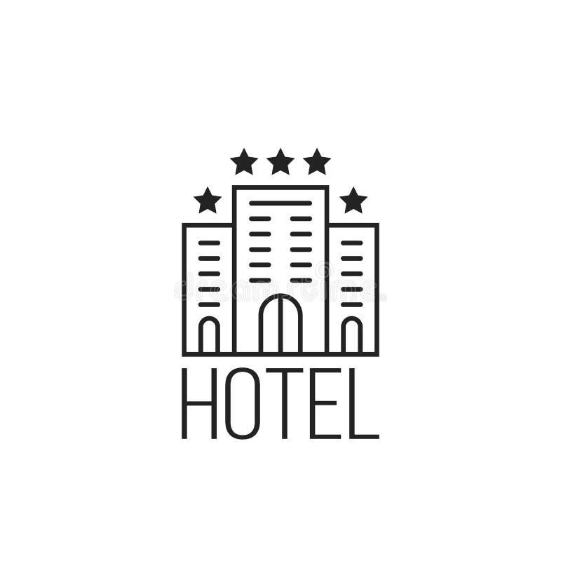 Icona semplice lineare dell'albergo di lusso con le stelle illustrazione di stock