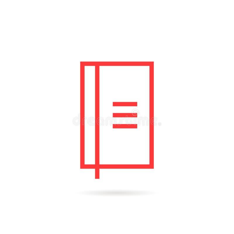Icona semplice lineare rossa del taccuino illustrazione vettoriale