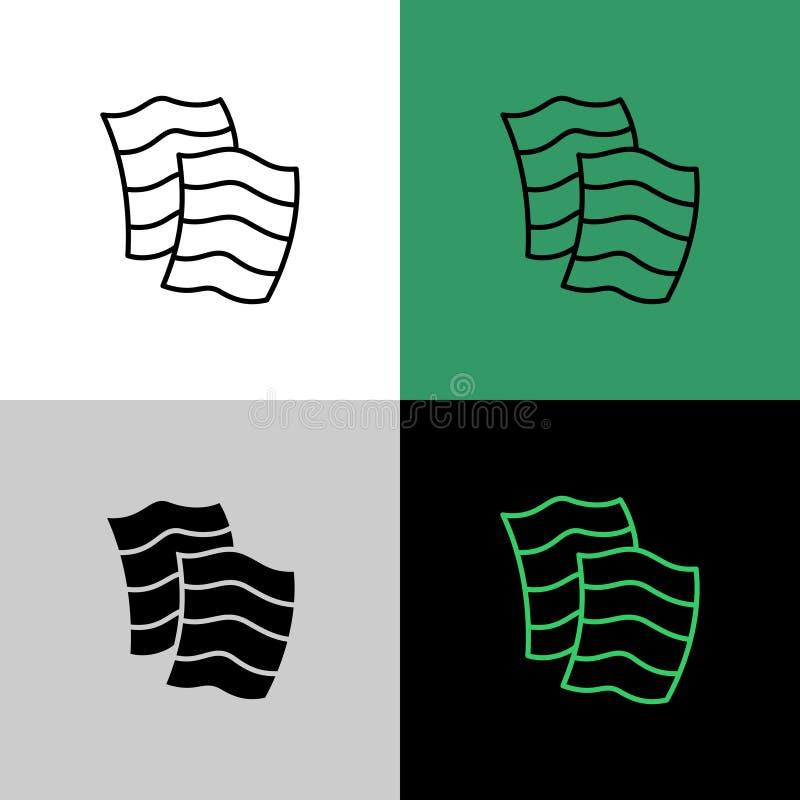 Icona semplice lineare sottile degli strati di alga di Nori illustrazione di stock
