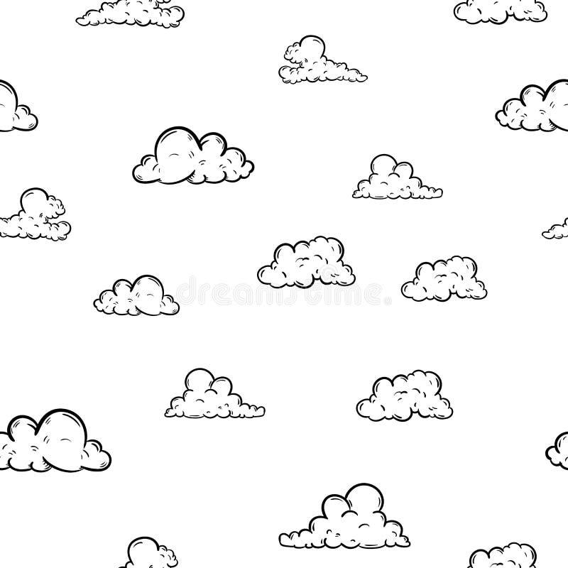 Icona senza cuciture della nuvola del modello di bello modo disegnato a mano Schizzo nero disegnato a mano Segno/simbolo/scaraboc illustrazione vettoriale
