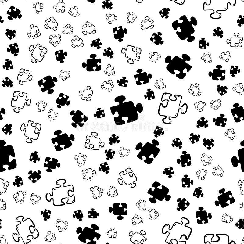 Icona senza cuciture di puzzle del modello di bello modo disegnato a mano Schizzo nero disegnato a mano Segno/simbolo/scarabocchi illustrazione vettoriale
