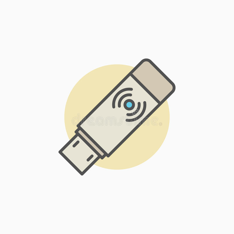 Icona senza fili del ricevitore del trasmettitore di USB illustrazione vettoriale