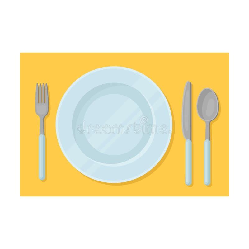 Icona servita della tavola nello stile del fumetto isolata su fondo bianco Illustrazione di vettore delle azione di simbolo di vi illustrazione di stock