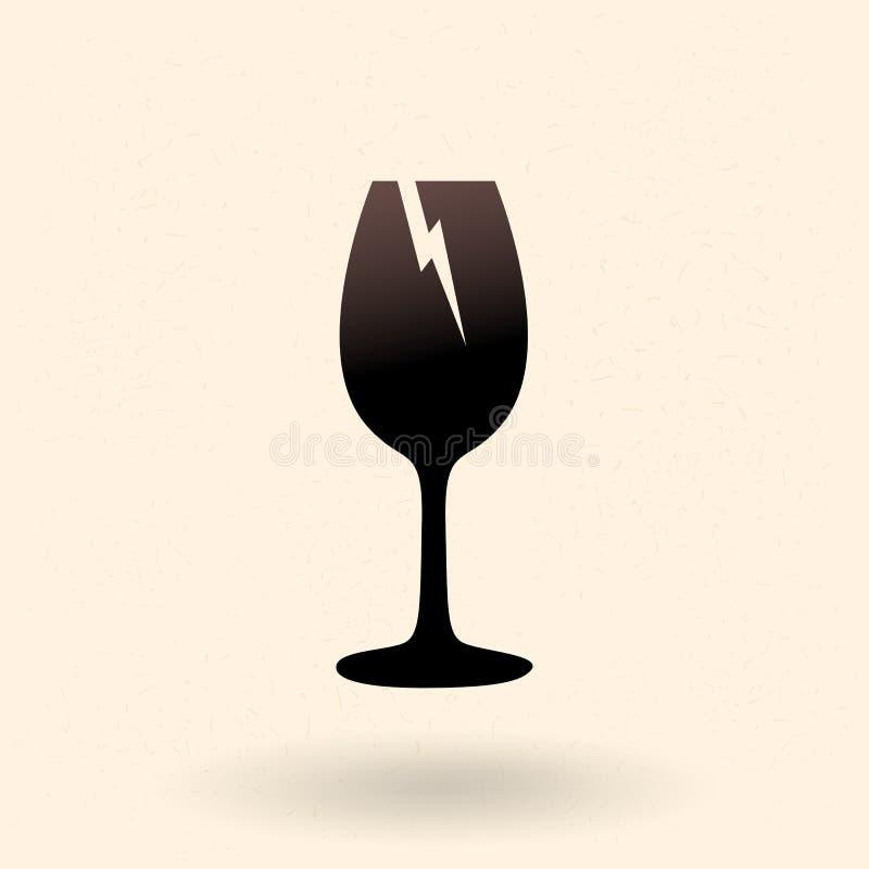 Icona Siluetta Di Base Vector Black - Vetro Di Vino Rotto Firma per pacchetto fragile royalty illustrazione gratis