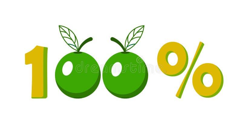 Icona, simbolo dell'introduzione sul mercato una mela 100% di cento per cento illustrazione di stock