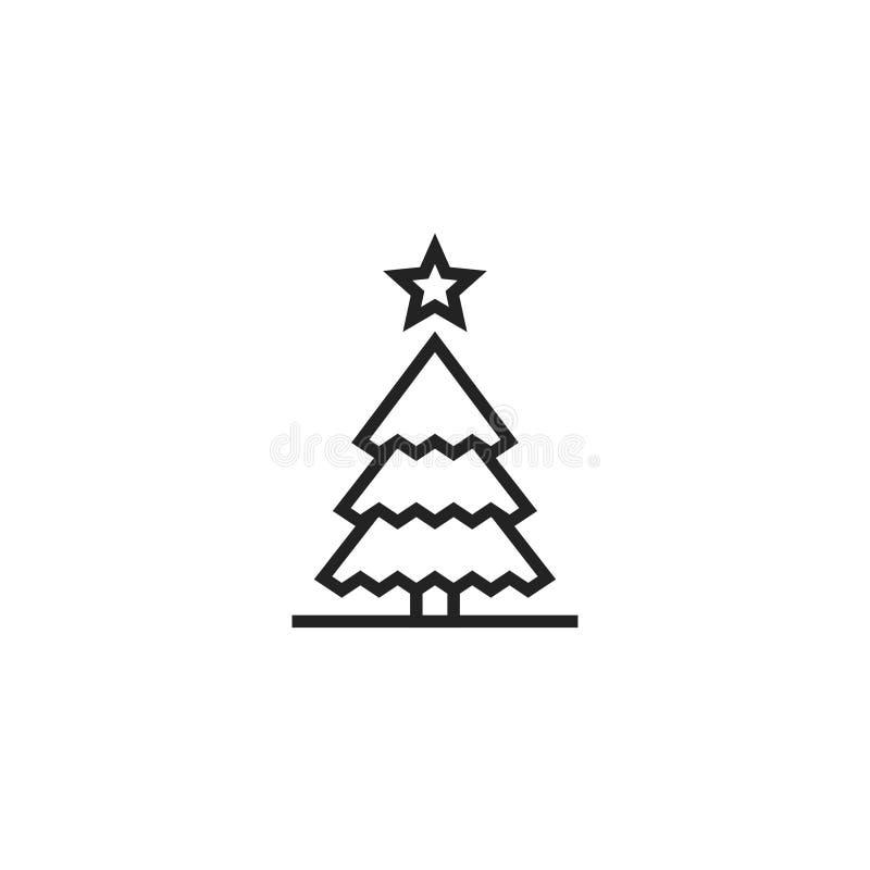 Icona, simbolo o logo di vettore di Oultine dell'albero di Natale illustrazione di stock