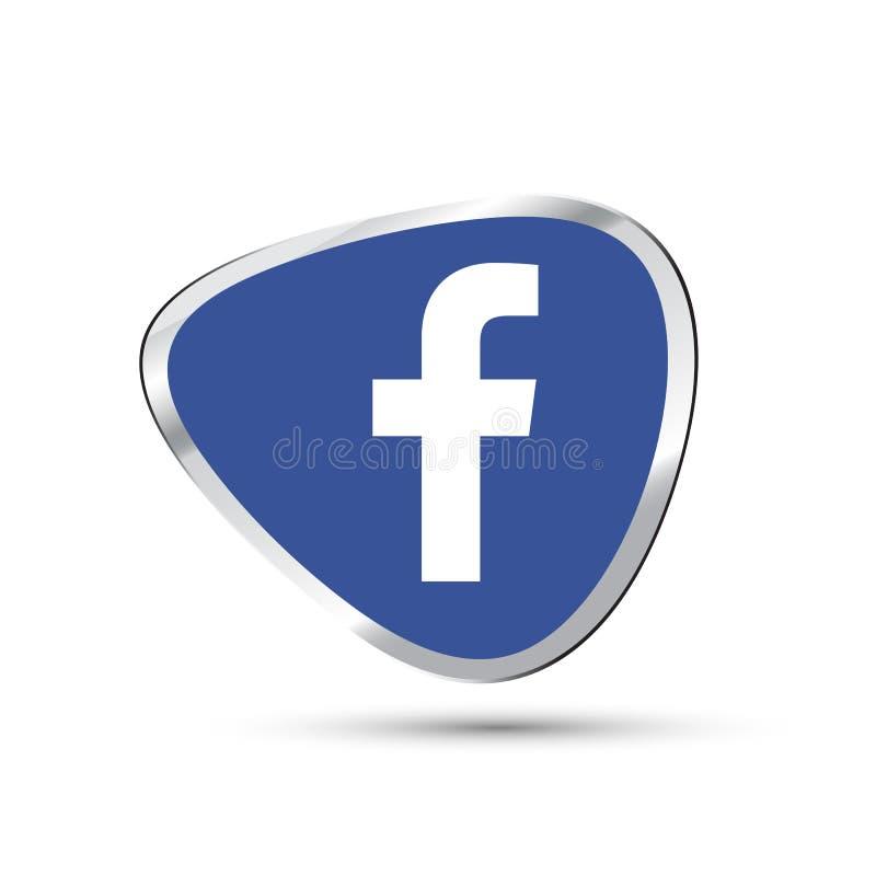Icona sociale 3d, facebook di media illustrazione vettoriale