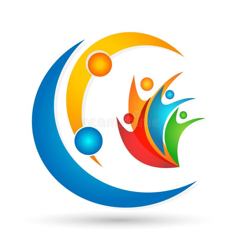 Icona sociale di logo di simbolo di concetto del lavoro di gruppo di celebrazione di benessere della comunità del lavoro di grup illustrazione di stock