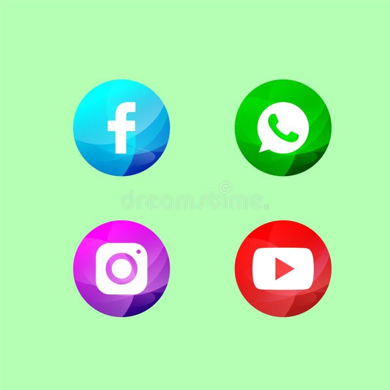 Icona sociale di media con i cerchi colorati royalty illustrazione gratis
