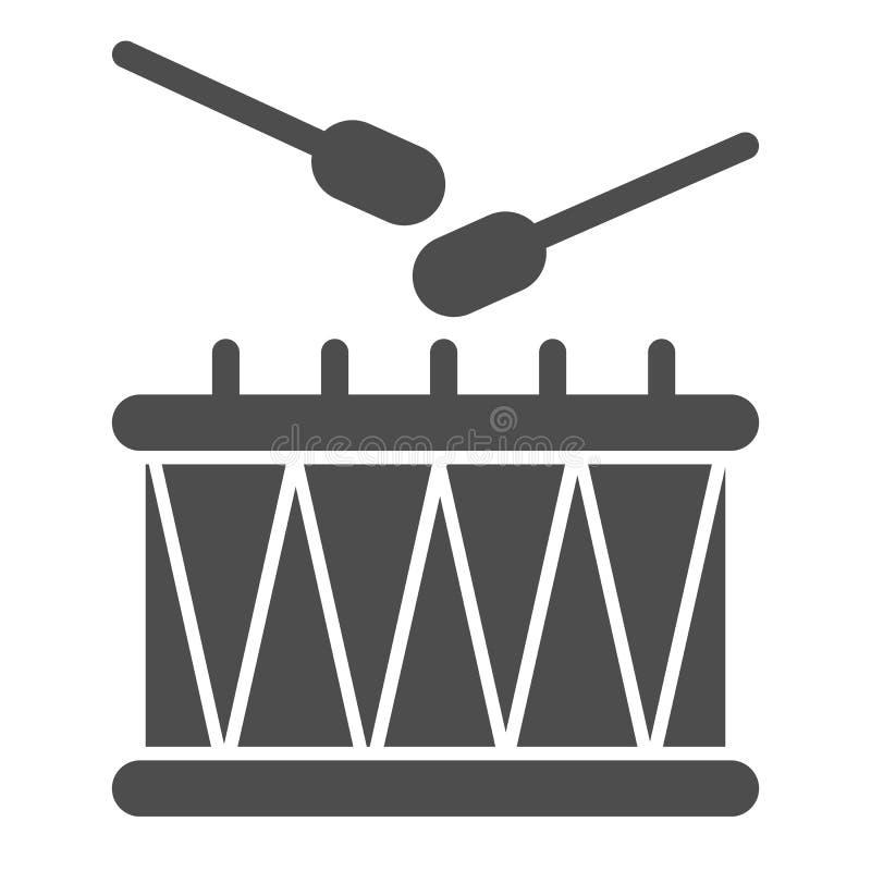 Icona solida dei bastoni e del tamburo Illustrazione di vettore dello strumento di musica isolata su bianco Progettazione di stil illustrazione vettoriale