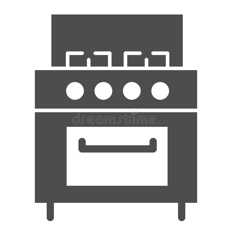 Icona solida del fornello Illustrazione di vettore della stufa isolata su bianco Progettazione di stile di glifo degli apparecchi illustrazione vettoriale
