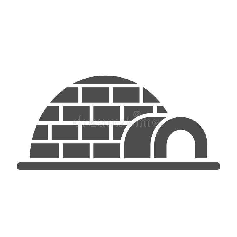 Icona solida dell'iglù Illustrazione di vettore della ghiacciaia isolata su bianco Progettazione antartica di stile di glifo, pro royalty illustrazione gratis