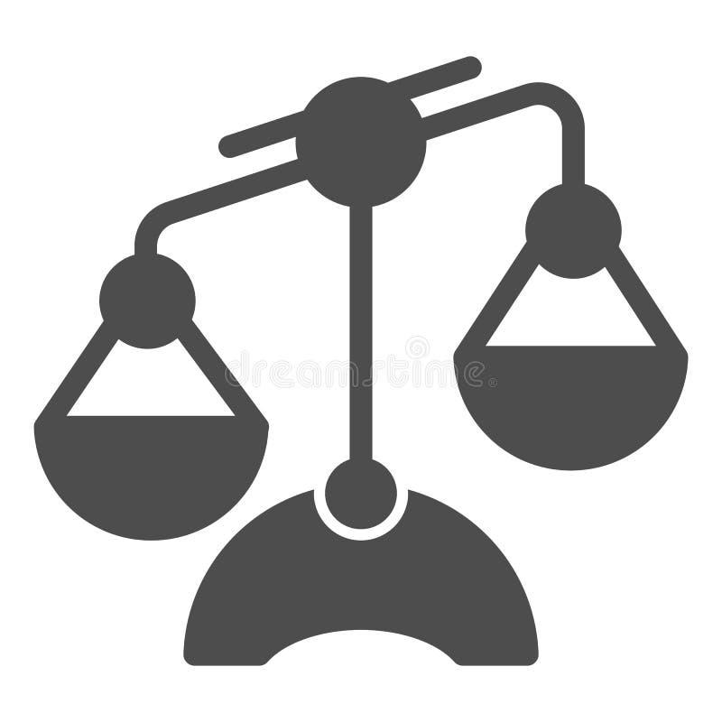 Icona solida della Bilancia Illustrazione di vettore delle scale isolata su bianco Progettazione uguale di stile di glifo, proget illustrazione di stock