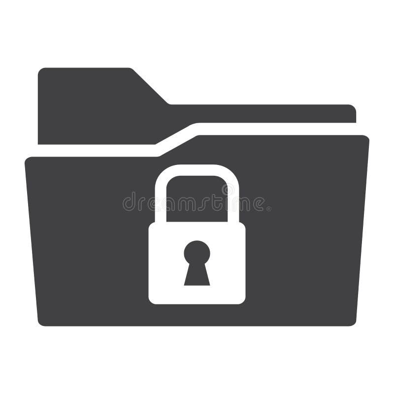 Icona solida della cartella sicura di dati, lucchetto di sicurezza illustrazione di stock