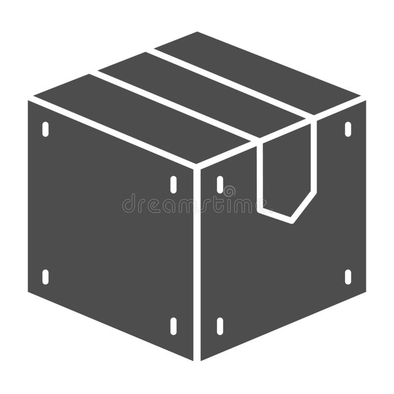 Icona solida della scatola di legno Illustrazione di vettore del carico isolata su bianco Progettazione di stile di glifo di stoc illustrazione di stock