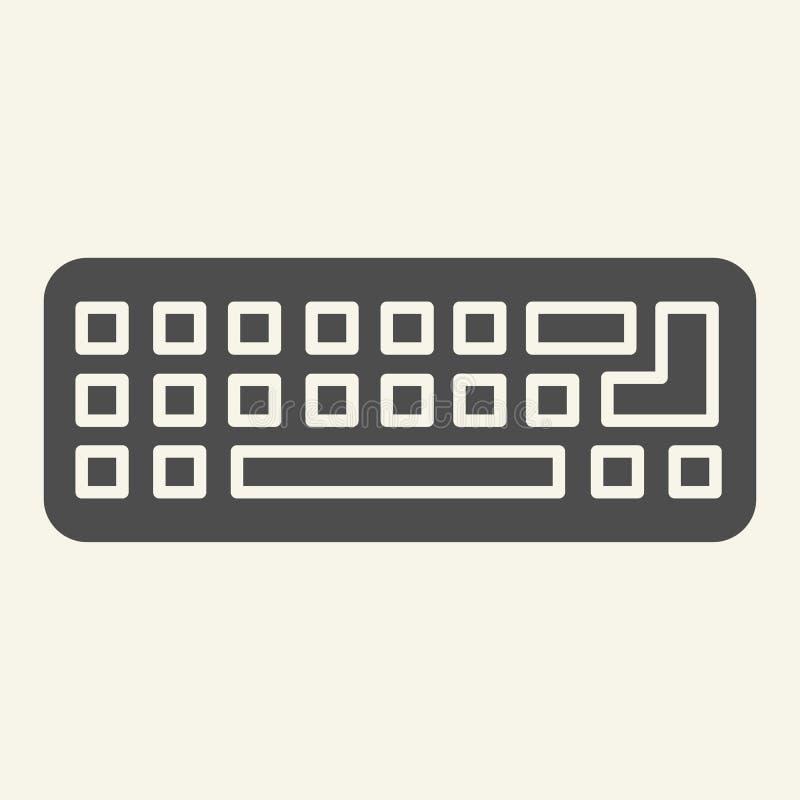 Icona solida della tastiera Illustrazione di vettore della tastiera del computer isolata su bianco Progettazione di stile di glif royalty illustrazione gratis