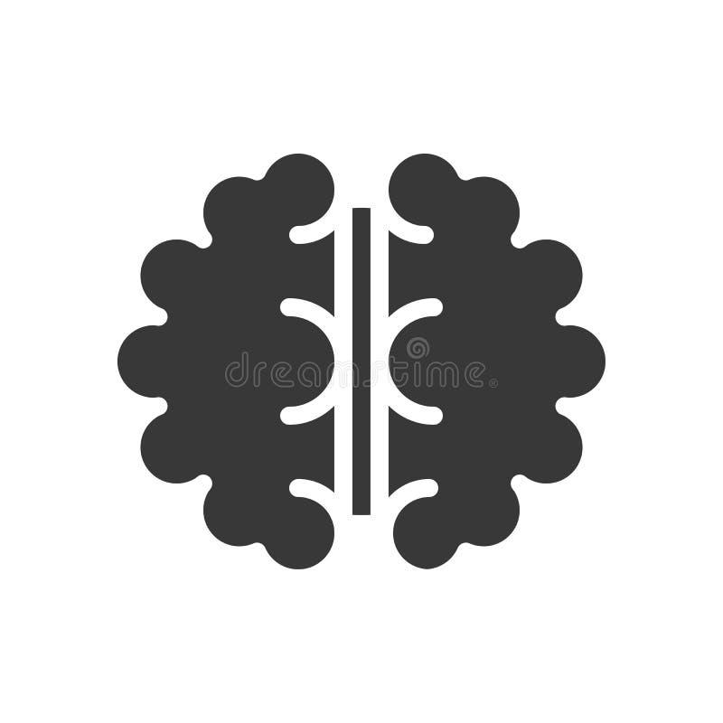 Icona solida di vista aerea del cervello medica ed insieme dell'organo illustrazione vettoriale