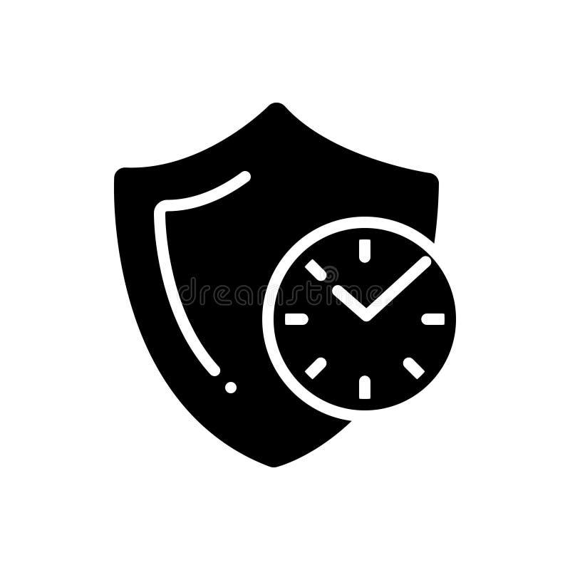 Icona solida nera per affidabile, credibile ed autentico illustrazione vettoriale